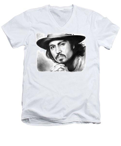 Johnny Depp Men's V-Neck T-Shirt by Greg Joens