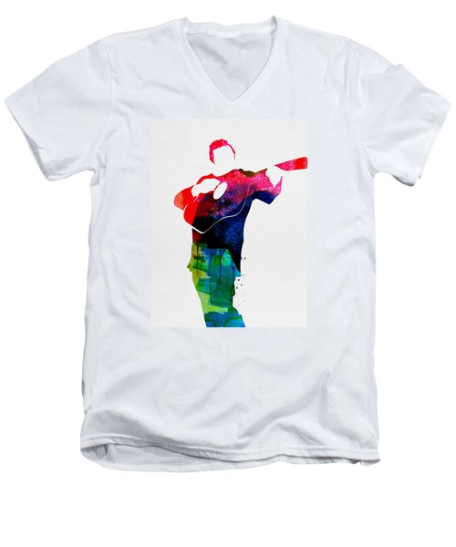 Johnny Watercolor Men's V-Neck T-Shirt by Naxart Studio