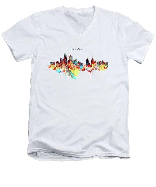 Kansas City Skyline Silhouette Men's V-Neck T-Shirt by Marian Voicu