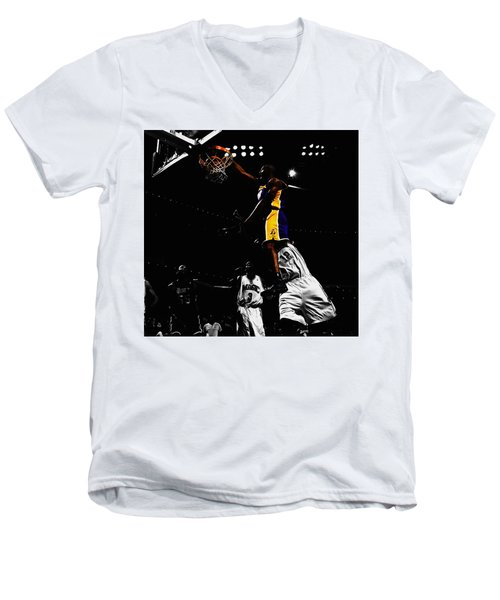 Kobe Bryant On Top Of Dwight Howard Men's V-Neck T-Shirt by Brian Reaves