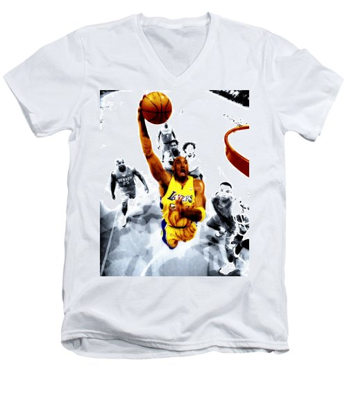 Kobe Bryant Took Flight Men's V-Neck T-Shirt by Brian Reaves