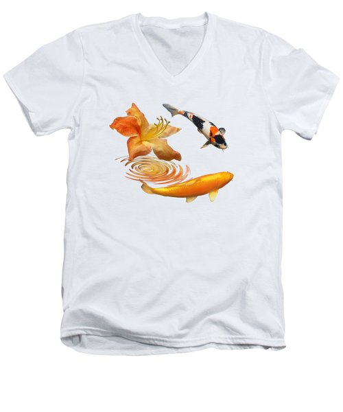 Koi With Azalea Ripples Men's V-Neck T-Shirt by Gill Billington