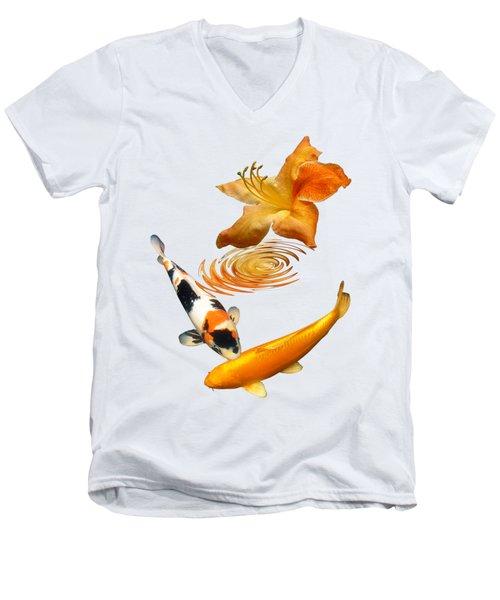 Koi With Azalea Ripples Vertical Men's V-Neck T-Shirt by Gill Billington
