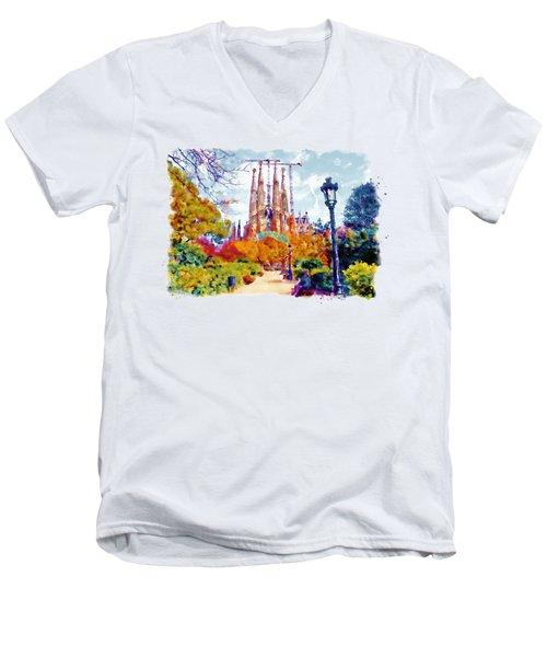 La Sagrada Familia - Park View Men's V-Neck T-Shirt by Marian Voicu