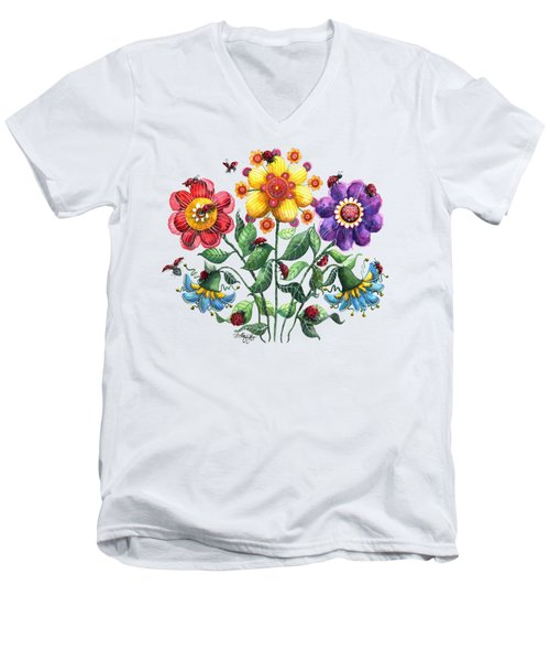 Ladybug Playground Men's V-Neck T-Shirt by Shelley Wallace Ylst