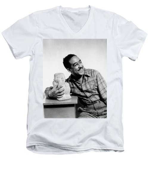 Langston Hughes (1902-1967) Men's V-Neck T-Shirt by Granger