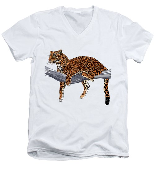 Leopard Men's V-Neck T-Shirt by Alexandra Panaiotidi