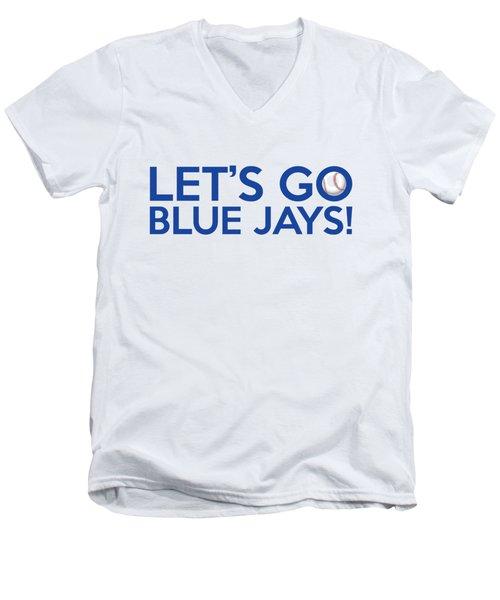 Let's Go Blue Jays Men's V-Neck T-Shirt by Florian Rodarte