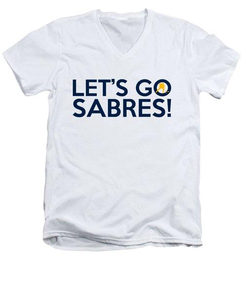 Let's Go Sabres Men's V-Neck T-Shirt by Florian Rodarte