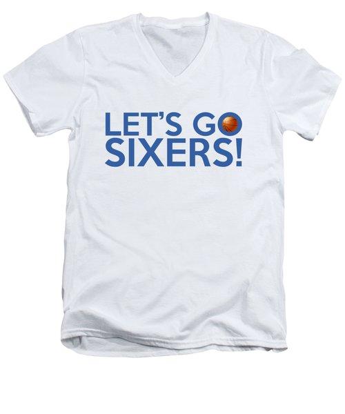 Let's Go Sixers Men's V-Neck T-Shirt by Florian Rodarte