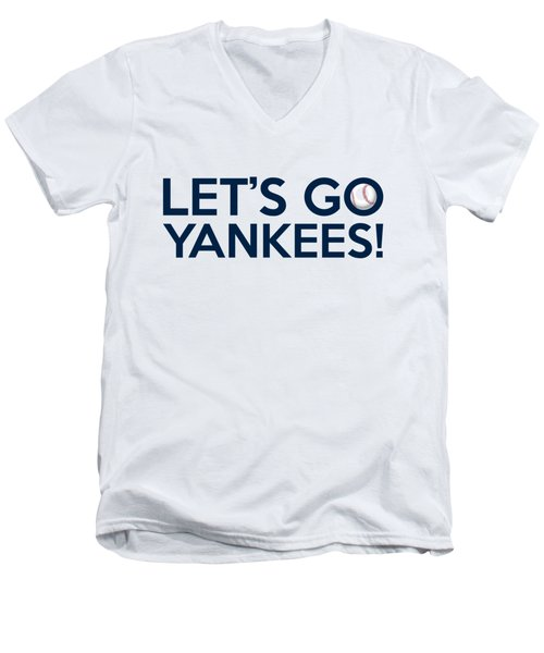 Let's Go Yankees Men's V-Neck T-Shirt by Florian Rodarte