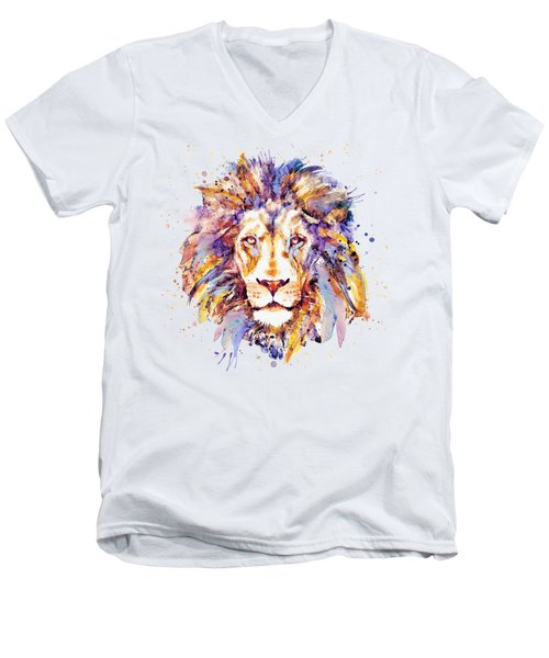 Lion Head Men's V-Neck T-Shirt by Marian Voicu