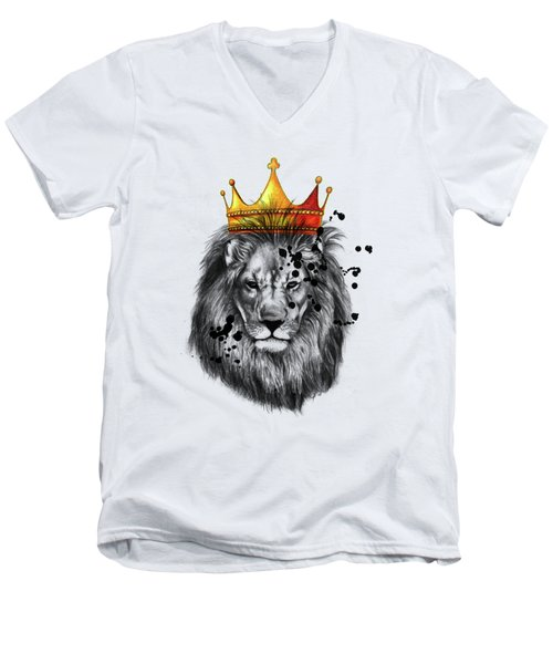 Lion King  Men's V-Neck T-Shirt by Mark Ashkenazi