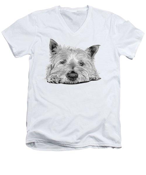Little Dog Men's V-Neck T-Shirt by Sarah Batalka