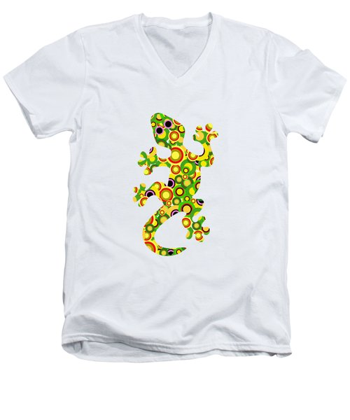 Little Lizard - Animal Art Men's V-Neck T-Shirt by Anastasiya Malakhova