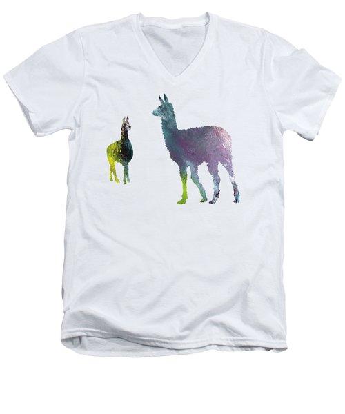 Llama Men's V-Neck T-Shirt by Mordax Furittus