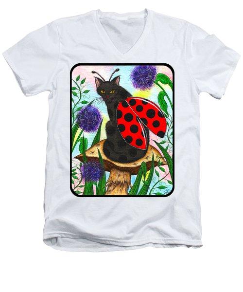 Logan Ladybug Fairy Cat Men's V-Neck T-Shirt by Carrie Hawks
