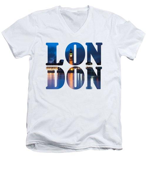 London Letters Men's V-Neck T-Shirt by Matt Malloy