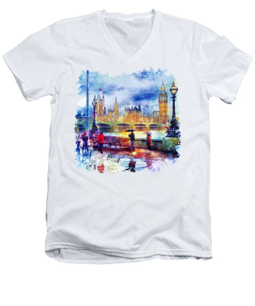 London Rain Watercolor Men's V-Neck T-Shirt by Marian Voicu