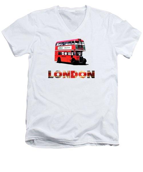 London Red Double Decker Bus Tee Men's V-Neck T-Shirt by Edward Fielding