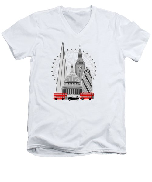 London Scene Men's V-Neck T-Shirt by Imagology Design