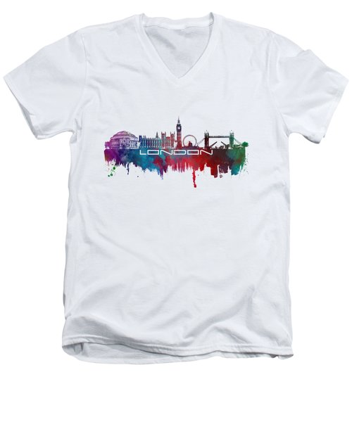 London Skyline City Blue Men's V-Neck T-Shirt by Justyna JBJart