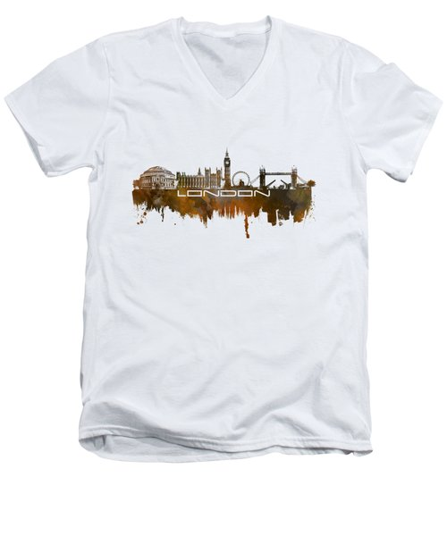 London Skyline City Brown Men's V-Neck T-Shirt by Justyna JBJart