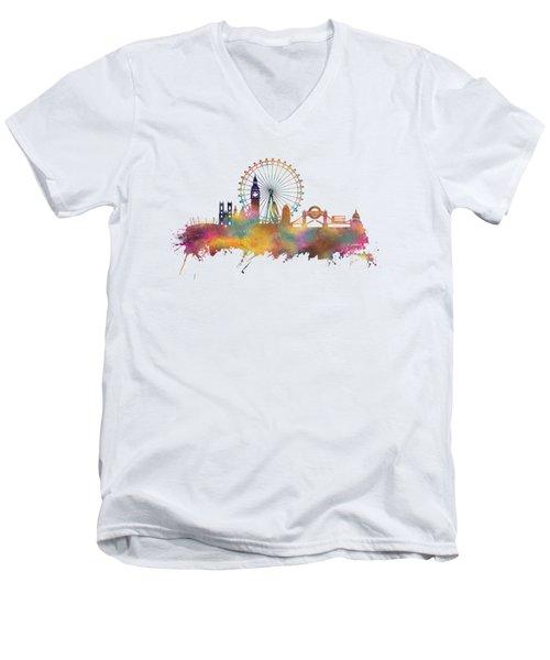 London Skyline Men's V-Neck T-Shirt by Justyna JBJart
