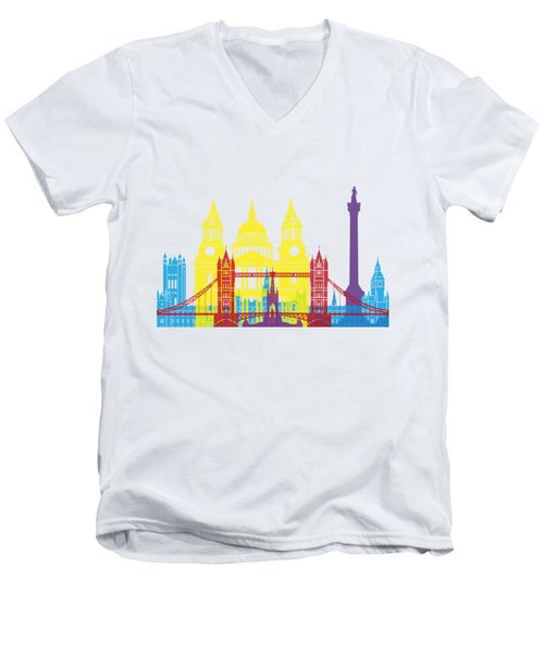 London Skyline Pop Men's V-Neck T-Shirt by Pablo Romero