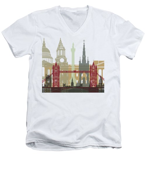 London Skyline Poster Men's V-Neck T-Shirt by Pablo Romero