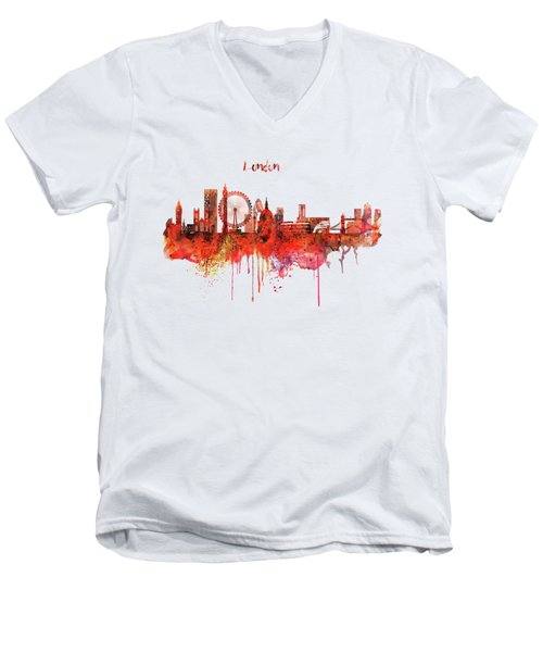 London Skyline Watercolor Men's V-Neck T-Shirt by Marian Voicu