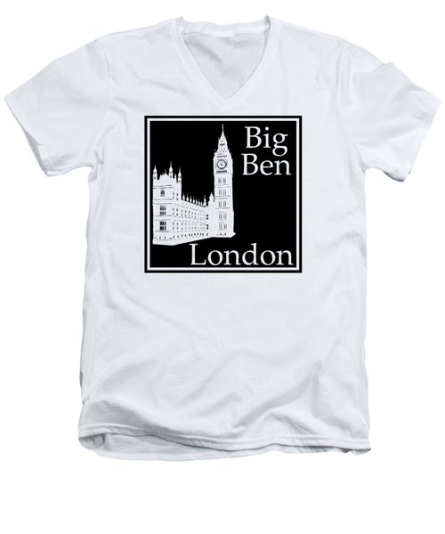 London's Big Ben In Black Men's V-Neck T-Shirt by Custom Home Fashions
