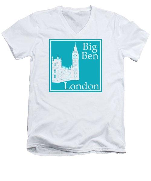 London's Big Ben In Robin's Egg Blue Men's V-Neck T-Shirt by Custom Home Fashions