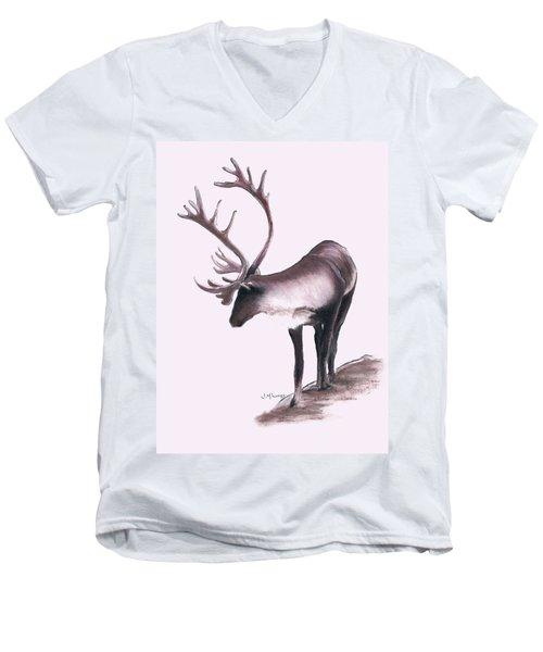 Lone Caribou Men's V-Neck T-Shirt by Jane M Lucas