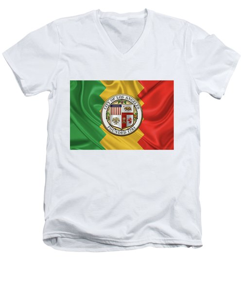 Los Angeles City Seal Over Flag Of L.a. Men's V-Neck T-Shirt by Serge Averbukh
