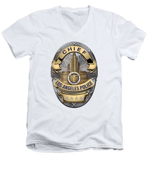 Los Angeles Police Department  -  L A P D  Chief Badge Over White Leather Men's V-Neck T-Shirt by Serge Averbukh