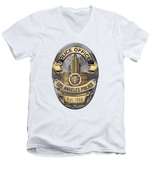 Los Angeles Police Department  -  L A P D  Police Officer Badge Over White Leather Men's V-Neck T-Shirt by Serge Averbukh