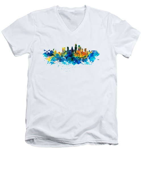 Los Angeles Skyline Men's V-Neck T-Shirt by Marian Voicu