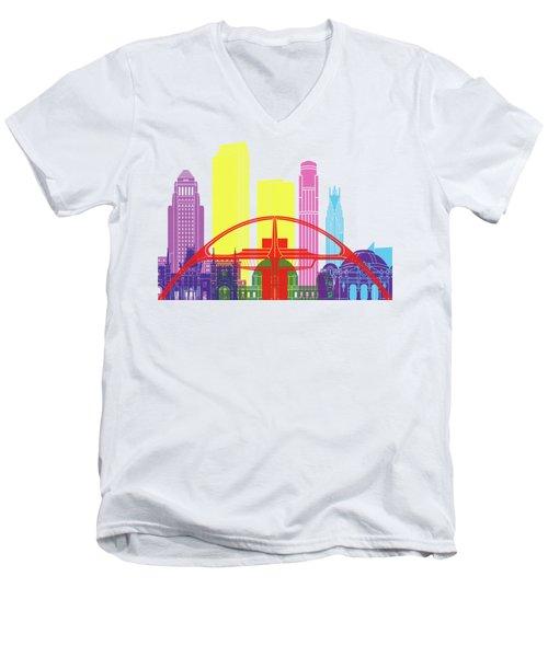 Los Angeles Skyline Pop Men's V-Neck T-Shirt by Pablo Romero