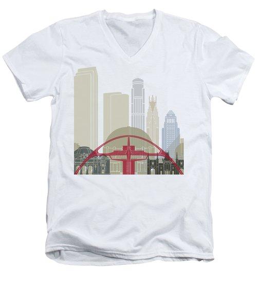 Los Angeles Skyline Poster Men's V-Neck T-Shirt by Pablo Romero