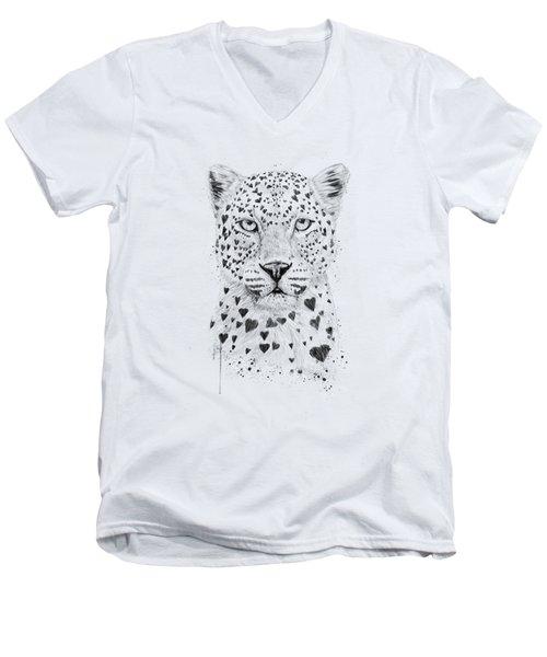 Lovely Leopard Men's V-Neck T-Shirt by Balazs Solti