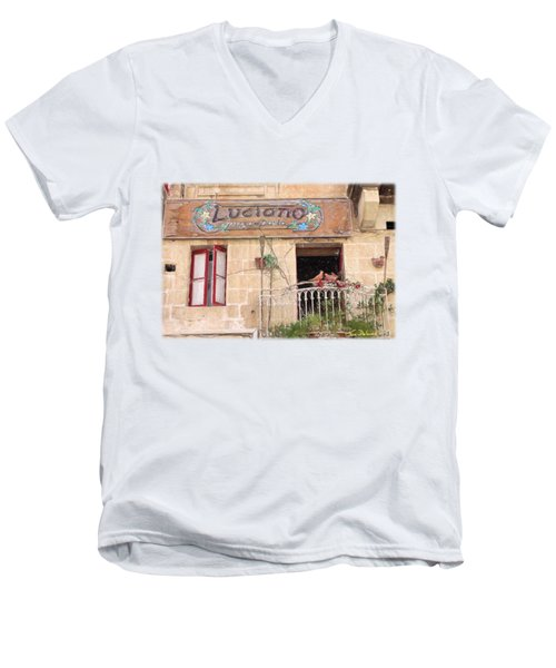 Luciano's Pizza Men's V-Neck T-Shirt by Jon Delorme