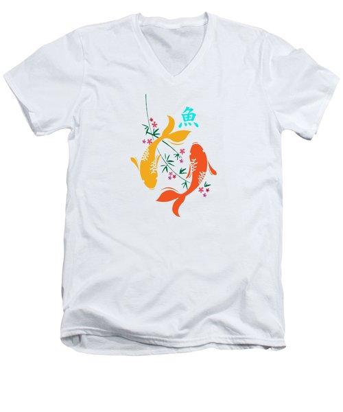 Lucky Koi Fish Men's V-Neck T-Shirt by Naviblue