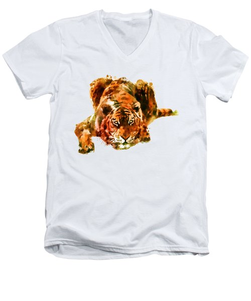 Lurking Tiger Men's V-Neck T-Shirt by Marian Voicu
