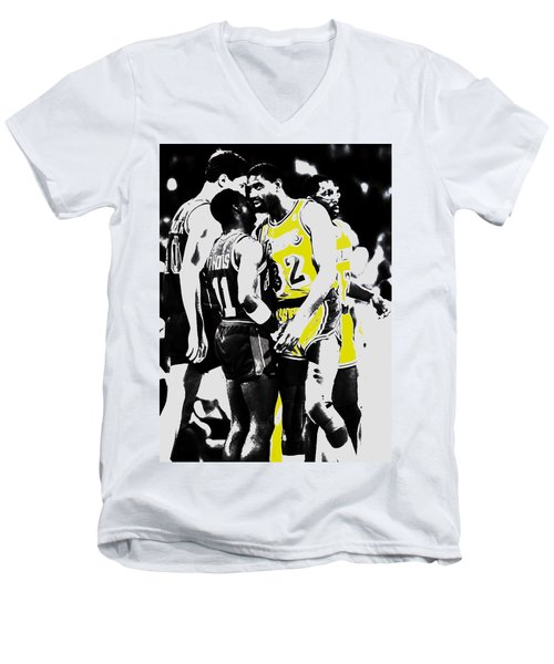 Magic Johnson And Isiah Thomas Men's V-Neck T-Shirt by Brian Reaves