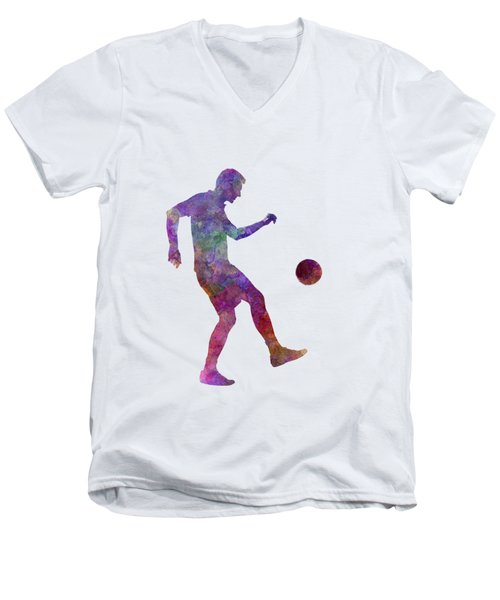 Man Soccer Football Player 04 Men's V-Neck T-Shirt by Pablo Romero