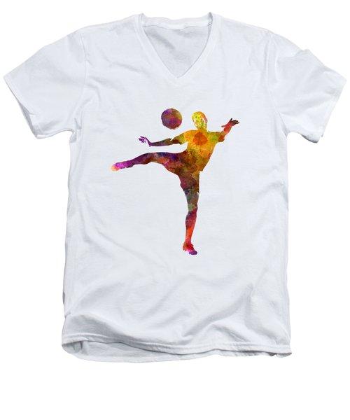 Man Soccer Football Player 07 Men's V-Neck T-Shirt by Pablo Romero