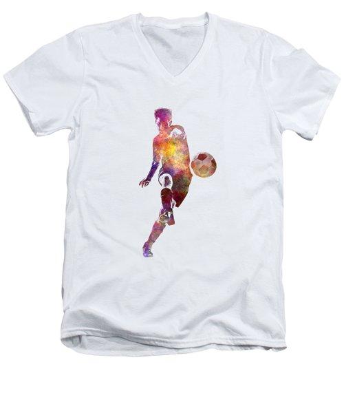 Man Soccer Football Player 10 Men's V-Neck T-Shirt by Pablo Romero