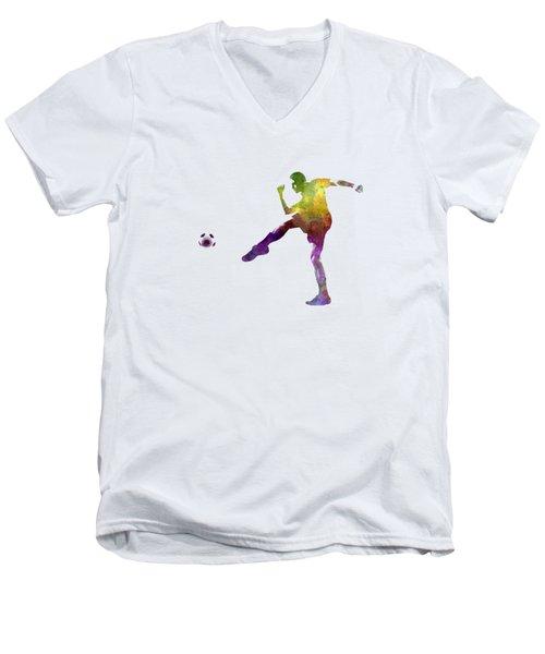 Man Soccer Football Player 15 Men's V-Neck T-Shirt by Pablo Romero