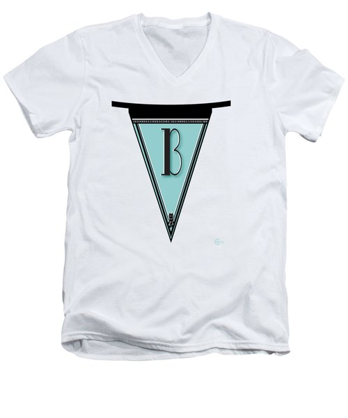 Pennant Deco Blues Banner Initial Letter B Men's V-Neck T-Shirt by Cecely Bloom